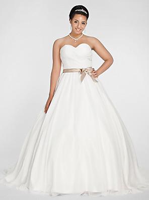 Lanting Bride Ball Gown Petite / Plus Sizes Wedding Dress-Chapel Train Sweetheart Chiffon