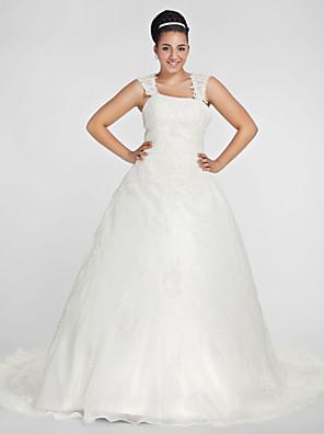 Lanting bruden bolden kjole plus sizeswedding dress-kapellet tog firkantet organza
