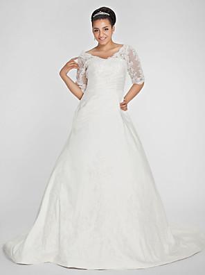 Lanting Bride® גזרת A קטן / מידה גדולה שמלת כלה - קלסי ונצחי שובל כנסייה (צ'אפל) צווארון וי טפטה עם