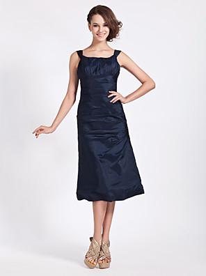 Tea-length Taffeta Bridesmaid Dress A-line / Princess Square Plus Size / Petite with Side Draping