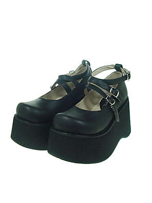 sort PU lær 10cm kile Gothic Lolita sko
