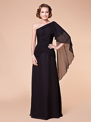 A-line Plus Size / Petite Mother of the Bride Dress Floor-length Sleeveless Chiffon with Flower(s) / Side Draping / Criss Cross