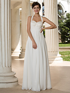Lanting Bride® גזרת A קטן / מידה גדולה שמלת כלה - קלסי ונצחי / שיק ומודרני עד הריצפה קולר שיפון עם פאייטים / בד בהצלבה