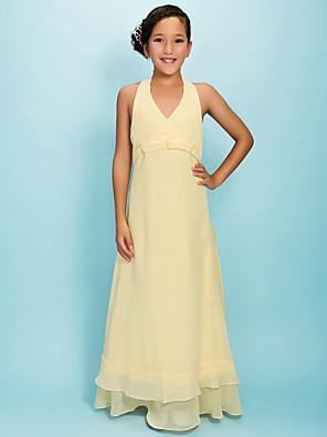 Vestido de Daminha de Honra - Narciso Linha-A/Princesa V profundo/Decote em V Longo Chiffon