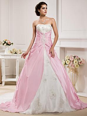 Lanting Bride® נשף קטן / מידה גדולה שמלת כלה - קלסי ונצחי שמלות חתונה צבעוניות שובל כנסייה (צ'אפל) סטרפלס אורגנזה / טפטה עם