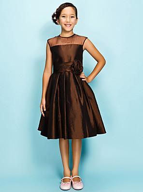 Lanting Bride® באורך  הברך אורגנזה / טפטה שמלה לשושבינות הצעירות  גזרת A / נסיכה עם תכשיטים טבעי עם תד נשפך / פרח(ים) / סלסולים