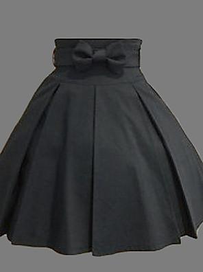 חצאית לוליטה קלאסית ומסורתית לוליטה Cosplay שמלות לוליטה Black אחיד לוליטה אורך בינוני חצאית ל נשים כותנה