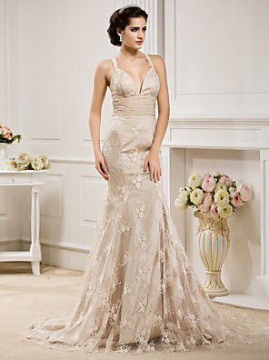 Lanting Bride® Sereia Pequeno / Tamanhos Grandes Vestido de Noiva - Clássico e atemporal / Elegante e Luxuoso Vestidos Noiva de CorCauda