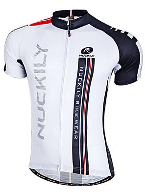 NUCKILY® חולצת ג'רסי לרכיבה לגברים שרוול קצר אופניים נושם / ייבוש מהיר / רוכסן קדמי / לביש ג'רזי / צמרות 100% פוליאסטר טלאים אביב / קיץ
