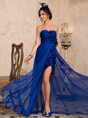 TS Couture® Formal Evening Dress - Open Back Plus Size / Petite Sheath / Column Strapless / Sweetheart Asymmetrical Chiffon withDraping / Flower(s) /