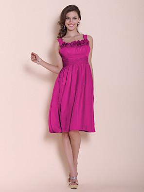 Lanting Bride® Ke kolenům Šifón Šaty pro družičky - A-Linie / Princess Čtvercový / Popruhy Větší velikosti / Malé s Květina(y) / Sklady