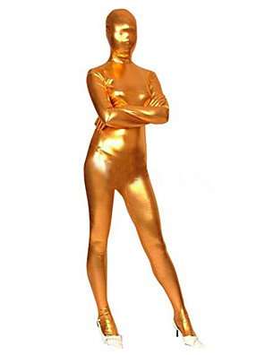 Lesklé zentai oděvy Ninja Zentai Cosplay kostýmy Zlatá Jednobarevné Leotard/Kostýmový overal / Zentai elastan Dámské Halloween / Vánoce