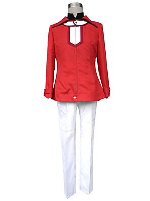 קיבל השראה מ Yu-Gi-Oh Judai Yuki אנימה תחפושות קוספליי חליפות קוספליי אחיד אדום שרוולים ארוכים מעיל / חולצת טי / מכנסיים