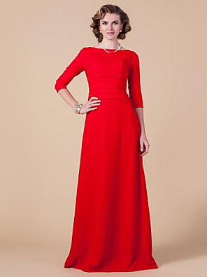 Sheath / Column Plus Size / Petite Mother of the Bride Dress Floor-length 3/4 Length Sleeve Chiffon with Ruching