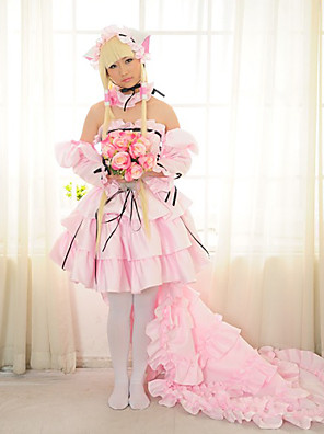 Inspirovaný Chobits Chii Anime Cosplay kostýmy Cosplay šaty / Šaty Patchwork Růžová Dlouhé rukávy Sukně / K šatům / Náhrdelníky / Rukávy
