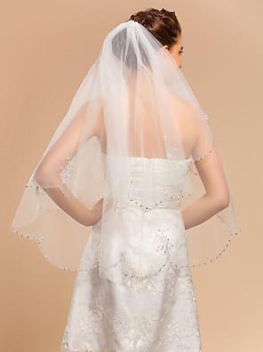 Véus de Noiva Duas Camadas Véu Ponta dos Dedos Borda com aplicação de Renda 35,43 cm (90cm) Tule MarfimLinha-A, Vestido de Baile,