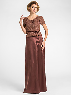Sheath / Column Plus Size / Petite Mother of the Bride Dress Floor-length Short Sleeve Lace / Stretch Satin with Sash / Ribbon
