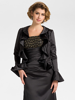 Wedding  Wraps Coats/Jackets Long Sleeve Satin Black Wedding / Party/Evening Bell Open Front