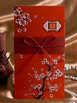 Nem személyre szabott csukott Esküvői Meghívók Meghívók Művészeti stílus / Flóra stílus Kártyapapír 20,8*10,3 cm Szalagok