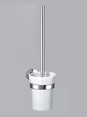 """Toilet Brush Holder Chrome Wall Mounted 150 x 97 x 370mm (5.90 x 3.81 x 14.5"""") Brass Contemporary"""