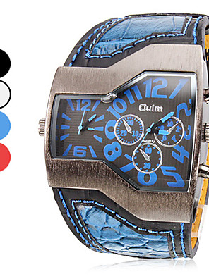 OULM® Men's Watch Military Trapezoidal Dial Dual time zones PU Band Cool Watch Unique Watch Fashion Watch