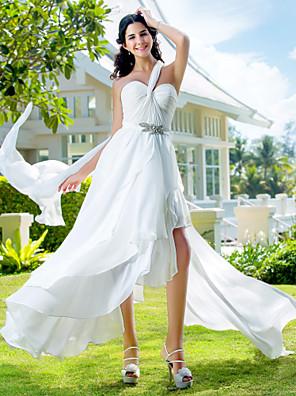 Lanting Bride® גזרת A / נסיכה קטן / מידה גדולה שמלת כלה - שיק ומודרני / זוהר ודרמטיות / לקבלת פנים א-סימטרי כתפיה אחת שיפון עם