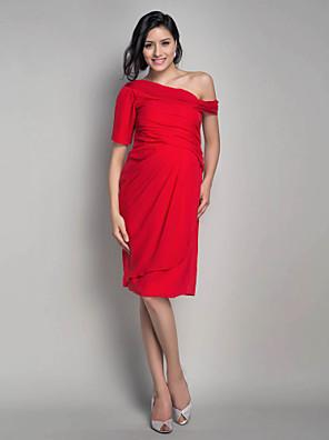 ts couture® cocktail party dress - korte moederschap schede / kolom een schouder knielange chiffon met kant draperen