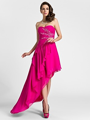 TS Couture® Cocktail Party / Formal Evening Dress - High Low Plus Size / Petite A-line Sweetheart Knee-length / Asymmetrical Chiffon with Appliques