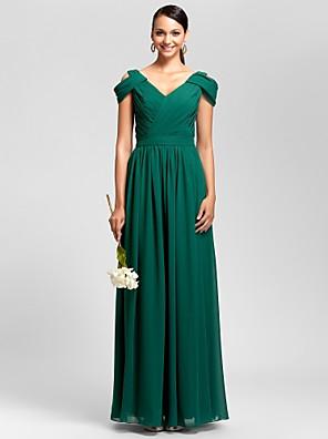 Vestido de Madrinha - Verde Escuro Tubo/Coluna Decote em V Longo Chiffon Tamanhos Grandes