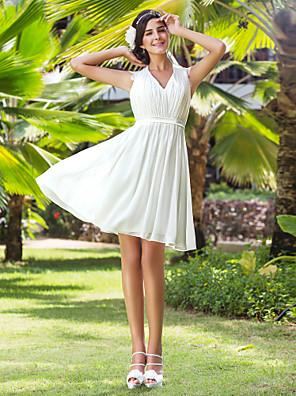 Lanting Bride A-line / Princess Petite / Plus Sizes Wedding Dress-Knee-length V-neck Chiffon