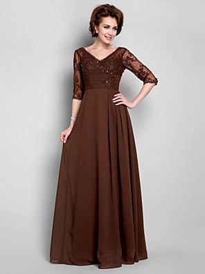 Lanting Bride® A-linje Plusstørrelse / Petite Kjole til brudens mor Gulvlang Halvlange ærmer Chiffon / Blondelukning - Perler /