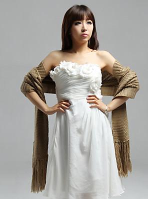 숄 / 결혼식 랩 숄 짧은 소매 스웨터 화이트 / 카멜 / 아몬드 파티/이브닝 / 캐쥬얼 티셔츠