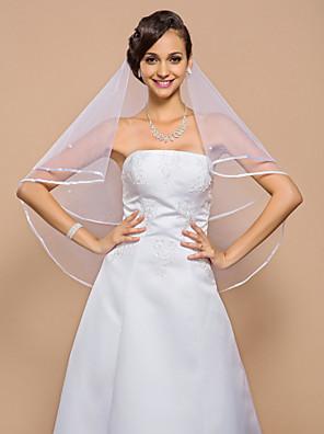 """הינומות חתונה שכבה אחת צעיפי מרפק קצה סרט 55.12 אינץ' (140 ס""""מ) טול לבן קו A, שמלת נשף, נסיכה, חצוצרה / בת הים, נדן / טור"""