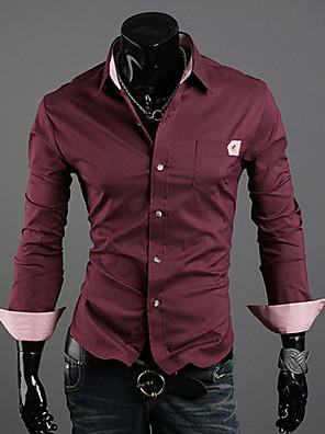 Masculino Camisa Casual Cor Solida Manga Comprida Misto de Algodão Preto / Azul / Vermelho / Branco