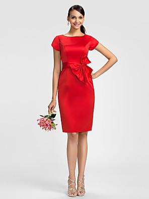 Lanting Bride® Ke kolenům Satén Šaty pro družičky - Pouzdrové Klenot Větší velikosti / Malé s Mašle / Šerpa / Stuha