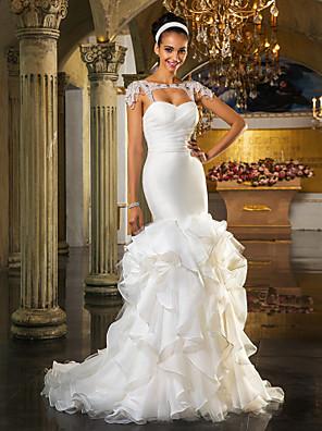 Lanting Bride® Rozevláté Drobná / Nadměrné velikosti Svatební šaty - Elegantní & moderní / Elegantní & luxusníLesk a flitry / Open Back /