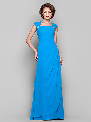 Dress Sheath / Column Cowl / Queen Anne Floor-length Chiffon with Crystal Brooch / Side Draping