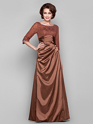 Dress Sheath / Column Bateau Floor-length Lace / Charmeuse with Beading / Lace / Side Draping