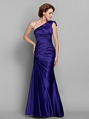 Lanting Bride® בתולת ים \ חצוצרה פלאס סייז (מידה גדולה) / פטיט שמלה לאם הכלה  עד הריצפה ללא שרוולים סאטן - בד נשפך בצד