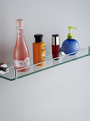 Badkamerplank Chroom Muurbevestiging 52*12*5cm (20.5*4.7*2inch) Messing / Glas Modern