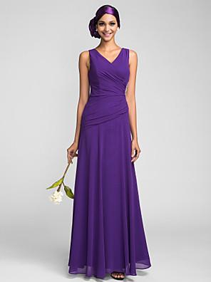 Lanting Bride® Longo Georgette Vestido de Madrinha - Tubinho Decote V Tamanhos Grandes / Mignon com Detalhes em Cristal / Drapeado Lateral