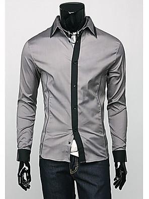 אנשיו של חולצה חלק תערובת כותנה שרוול ארוך יום יומי שחור / לבן / אפור