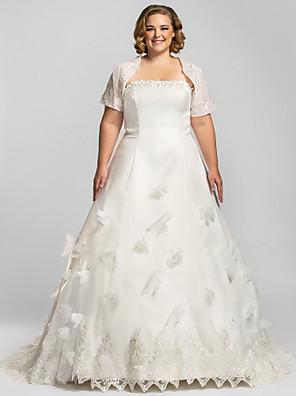 몸집이 작은 A 라인 신부 lanting / 플러스 웨딩 드레스 예배당 기차 끈 오간자 크기