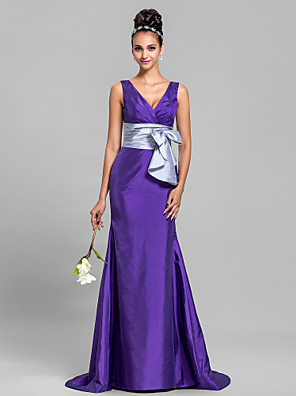 Sweep / Brush Train Taffeta Bridesmaid Dress Trumpet / Mermaid V-neck Plus Size / Petite with Bow(s) / Criss Cross / Ruching
