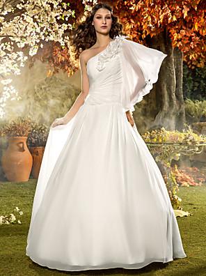 Lanting Bride® A-line Petite / Plus Sizes Wedding Dress - Classic & Timeless / Elegant & Luxurious Floor-length One Shoulder Chiffon with
