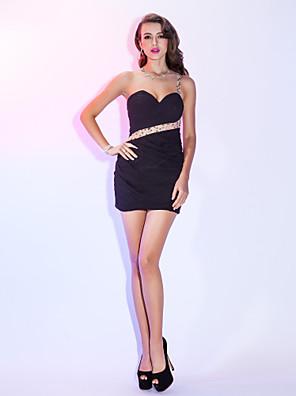 Cocktailparty / Festtage Kleid - Schöner Rücken Eng anliegend Ein/Schulter Kurz / Mini Chiffon mit Perlstickerei / Überkreuzte Rüschen