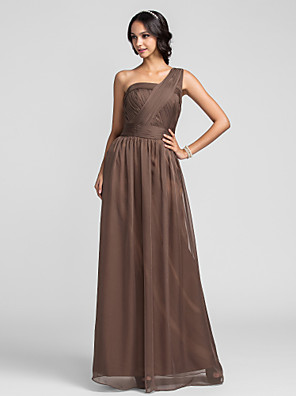 Floor-length Chiffon Bridesmaid Dress Sheath / Column One Shoulder Plus Size / Petite with Criss Cross / Ruching