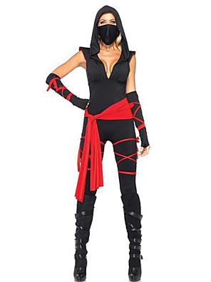 תחפושות קוספליי / תחפושת למסיבה Ninja פסטיבל/חג תחפושות ליל כל הקדושים שחור טלאים עליון / מכנסיים / כפפות / חגורה / מסכההאלווין (ליל כל