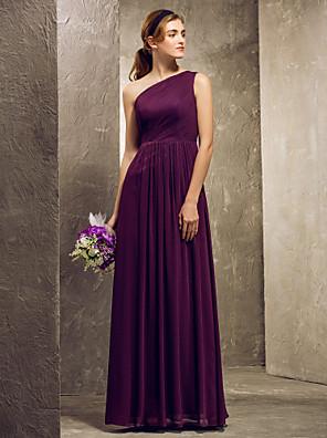 Lanting Bride® עד הריצפה שיפון אמא ובת שמלה לשושבינה - מעטפת \ עמוד כתפיה אחת פלאס סייז (מידה גדולה) / פטיט עם בד נשפך בצד