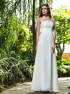 Lanting Bride® Sheath / Column Petite / Plus Sizes Wedding Dress - Classic & Timeless Floor-length Strapless Cotton with